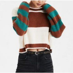 American Eagle Chunky Cropped Striped Sweater Teal Brown Cream Crewneck XL